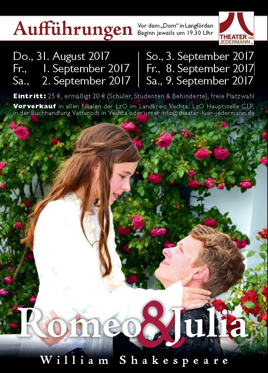 """""""Romeo und Julia"""" das berühmteste Liebespaar des Theaters – 2017 vor dem """"Dom"""" in Langförden!"""